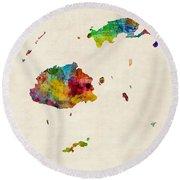 Fiji Watercolor Map Round Beach Towel