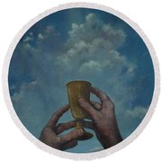 Fill My Cup Lord Round Beach Towel