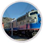 Fillmore And Western Railway Christmas Train 2 Round Beach Towel