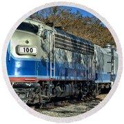 Fillmore And Western Railway Christmas Train 3 Round Beach Towel