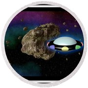 Film Frame With Asteroid And Ufo Round Beach Towel