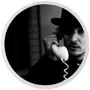 Film Noir Detective On Telephone Round Beach Towel