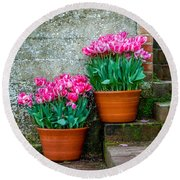 Filoli Tulips Round Beach Towel