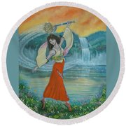 Final Fantasy Goddess  Round Beach Towel