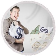 Finance And Money Growth Concept Round Beach Towel