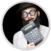 Financial And Accounting Genius With Calculator Round Beach Towel
