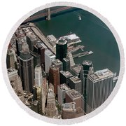 Financial District Nyc Aerial Photo Round Beach Towel