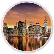 Financial District Sunset Round Beach Towel