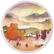 Finca In Spain Round Beach Towel