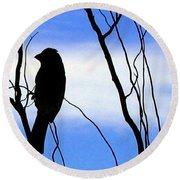 Finch Silhouette 2 Round Beach Towel