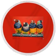 Finches Round Beach Towel