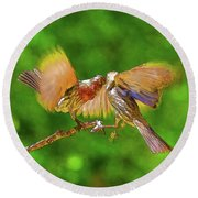 Finches In Motion I  Round Beach Towel