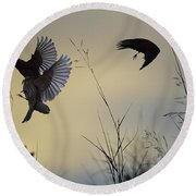 Finches Silhouette With Leaves 5 Round Beach Towel