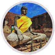 Finding, Not Seeking At Wat Worachetha Ram In Ayutthaya, Thailand Round Beach Towel