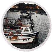 Fine Art- Boats St Ives Harbour Round Beach Towel