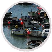 Fine Art- Boats St Ives Round Beach Towel