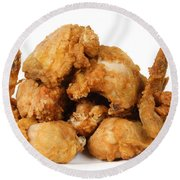 Fine Art Fried Chicken Food Photography Round Beach Towel