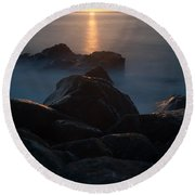 Fine Art- Sunset Rocks Round Beach Towel
