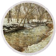 Fine Creek Winter Round Beach Towel