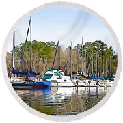 Fine Day To Sail - Illustration Style  Round Beach Towel