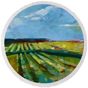 Fine Fields Round Beach Towel