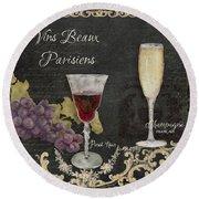 Fine French Wines - Vins Beaux Parisiens Round Beach Towel