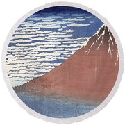 Fine Weather With South Wind Round Beach Towel by Hokusai