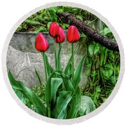 Fine Wine Cafe Red Tulips Round Beach Towel