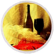 Fine Wine Round Beach Towel