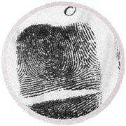 Fingerprints Of Vincenzo Peruggia, Mona Round Beach Towel