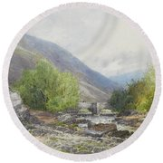 Fingle Bridge On The Teign Round Beach Towel