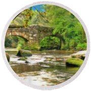 Fingle Bridge - P4a16013 Round Beach Towel