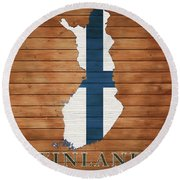 Finland Rustic Map On Wood Round Beach Towel
