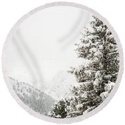 Fir Trees And Mountains Round Beach Towel