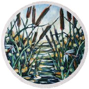 Fire And Dragonflies Round Beach Towel