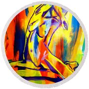 Fire And Gold Round Beach Towel