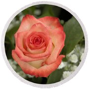 Fire And Ice Rose Round Beach Towel