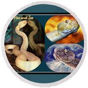 Fire And Ice Slither Collage Round Beach Towel