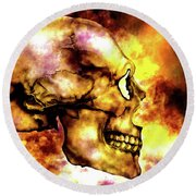 Fire And Skull Round Beach Towel