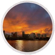 Fire And Water Round Beach Towel