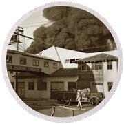 Fire At Cannery Row, Custom House Packing Company Sea Beach Cannery 1953 Round Beach Towel