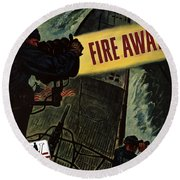 Fire Away Round Beach Towel by War Is Hell Store