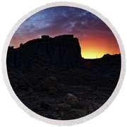 Fire Ball Sunset Round Beach Towel