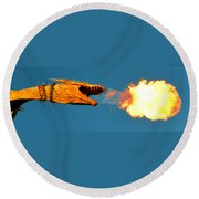Fire Breathing Dragon Pano Work Round Beach Towel