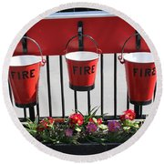 Fire Buckets Round Beach Towel