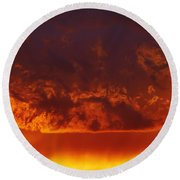 Fire Clouds Round Beach Towel by Michal Boubin
