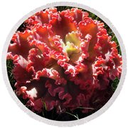 Fire Color Succulent. Curly Plant, Exotic Round Beach Towel