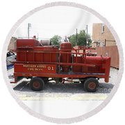 Fire Engine Of Older Years  Round Beach Towel