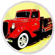 Fire Engine Ok Round Beach Towel