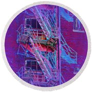 Fire Escape 4 Round Beach Towel